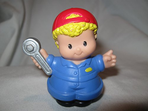 Fisher Price Little People RARE Blonde Curly Hair Mechanic Car Wash Garage Tow Truck Driver Dad OOP 2003 - 1