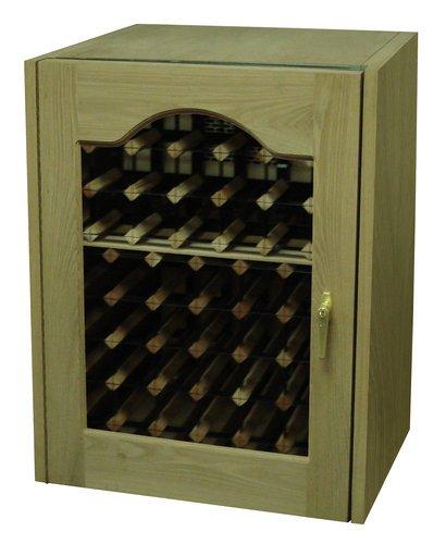 Vinotemp VINO-114PROFRUITWOOD Fruitwood Reserve 80 Bottle Glass Door Wine Cabinet with Digital Tempe