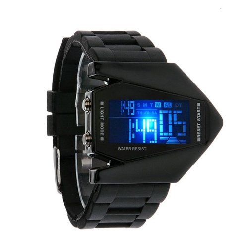 Bomber LED Light 12/24Hrs Sport Digital Calendar Rubber Silicone Men's Young Men's Watch - BLACK