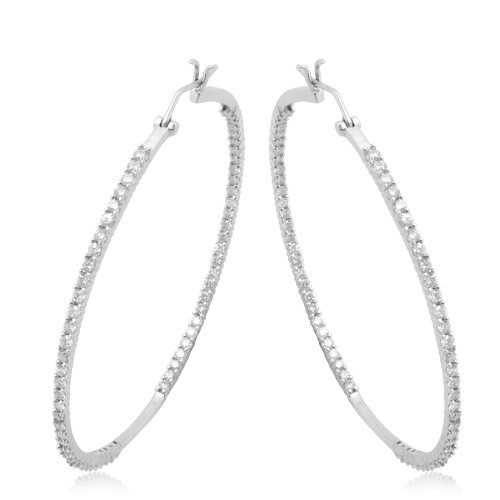 10k White Gold Diamond Inside-Out Hoop Earrings (2.00 cttw, I-J Color, I2-I3 Clarity)