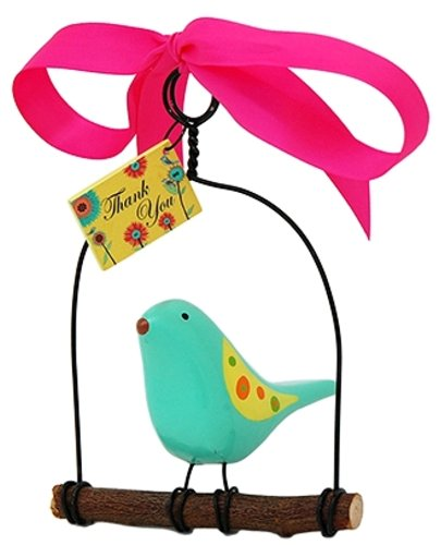 Rosso's International WB6 Bird on a Swing Thank You Birdhouse Ornament, 4 by 3 by 6-Inch, Set of 3