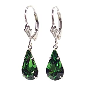 SILVER LEVER BACK EARRINGS MADE WITH TEARDROP EMERALD GREEN SWAROVSKI CRYSTAL