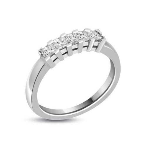 0.60 carat Diamond Half Eternity Ring for Women. H/SI1 Princess Cut Diamonds in 4 Claw Setting in 18ct White Gold