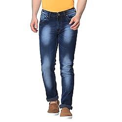 Gabon Dark Blue Cotton Lycra jeans for Men