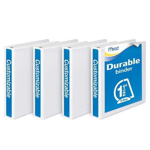 Mead 1.5-Inch Durable D-Ring View Binder, 4 Pack, White (W465-34WPP)