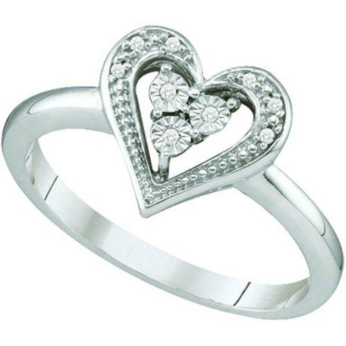 0.02 Carat (ctw) 10k White Gold White Diamond Ladies Cluster Heart Promise Ring