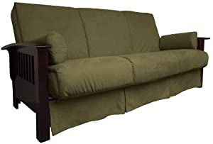 Epic Furnishings Brentwood Perfect Sit and Sleep Pillow Top Sofa Sleeper Bed, Queen-size, Medium Oak Frame Finish, Suede Mocha Brown Upholstery