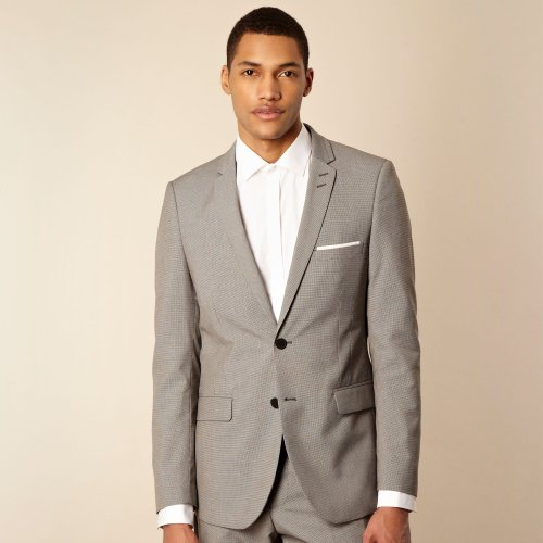 Red Herring Red Line Light Grey Puppytooth Tailored Suit Jacket