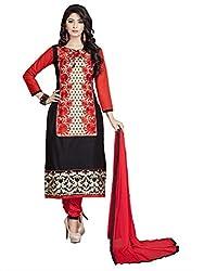 Khushali Presents Chudidar Dress Material(Black,Red)