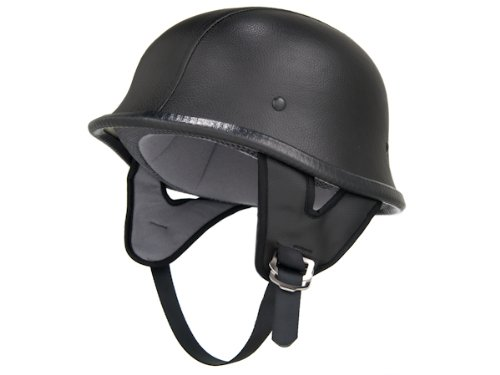 DOT Approved Motorcycle Helmet German Half Helmet Shorty WWII Black Leather EVOS Sport Street Bike Cruiser Scooter Snowmobile ATV Helmet - X-Large