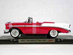 1956 Chevrolet Bel Air Convertible diecast model car 1:18 scale die cast by Yat Ming - Red
