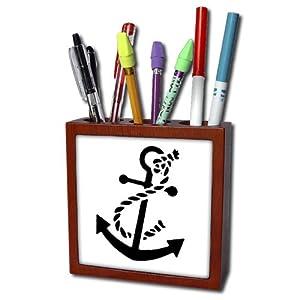 3dRose ph_56050_1 Ships Anchor Tile Pen Holder, 5-Inch
