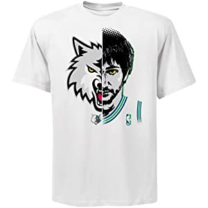 NBA Majestic Ricky Rubio Minnesota Timberwolves Logo Man T-Shirt - White by Majestic