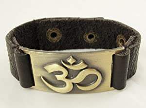 Om Bracelet, Leather, Adjustable