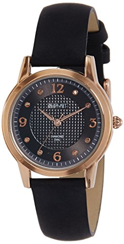 August Steiner Women's AS8198BKR Rose Gold Quartz Watch with Black Dial and Black Suede Leather Strap (Gold Black Dial Womens Watches compare prices)