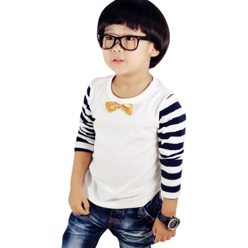 Little Hand Little Boys' T-Shirts Striped Gentle Cravat Tops 2-7 Years White 2T front-924172