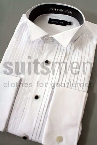 Stitch pleat Wing Collar Dress Shirt From Double Two 22inch Neck, White