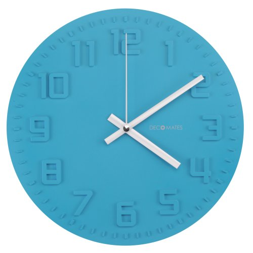 DecoMates Non-Ticking Silent Wall Clock - Disc (Ocean Blue)