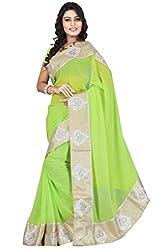 Offo Deals Womens Chiffon Saree ( TM-49_Green_Freesize)