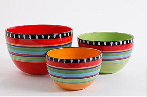 Ge Pueblo Springs 3Pc Bowl Set, Durastone Giftboxed, Mixing Bowls