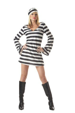 California Costume Stripingly Sexy Convict Chick Prisoner Costume