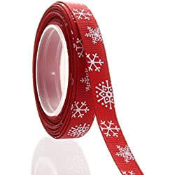 "3/8"" Christmas Red Snowflake Grosgrain Ribbon 5 Yard"