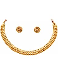 JFL - Traditional Ethnic Floral One Gram Gold Plated Designer Necklace Set / Jewellery Set For Women & Girls