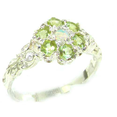 Victorian Ladies Solid Sterling Silver Natural Fiery Opal & Peridot Daisy Ring - Size 12 - Finger Sizes 5 to 12 Available - Suitable as an Anniversary ring, Engagement ring, Eternity ring, or Promise ring
