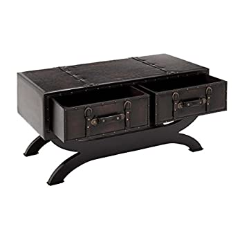 "Deco 79 55743 Wood Leather Coffee Table, 40"" x 21"", Black"