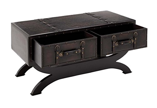 "Deco 79 55743 Wood Leather Coffee Table, 40"" x 21"", Black 2"
