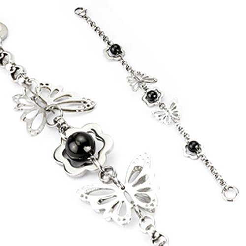 316L Stainless Steel Round Chain Link Bracelet with Flower with Black IP Steel Beads and 3D Butterflies