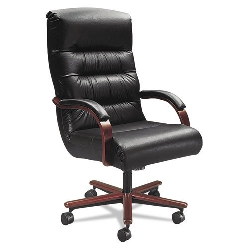 La-Z-Boy® Contract Horizon Collection Executive High Back Chair Black Leather/Mahogany