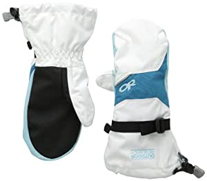 Outdoor Research Girl's Adrenaline Mitts, White/Alpine Lake/Pool, Large