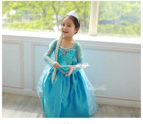 【Dream-studio オリジナル】 4点セット 演出用 アナと雪の女王 Frozen エルサ Elsa 女王 風 ドレス プリンセスドレス 子供用 ワンピース コスプレ衣装 Mサイズ(110cm~120cm)