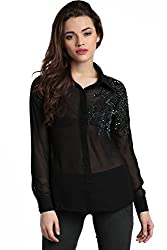 Divaat Black Poly Georgette Top For Women