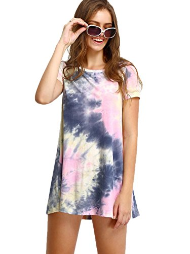 ROMWE Women's Short Sleeve Summer Casual Tie Dye T-Shirt Dress Multicolor S