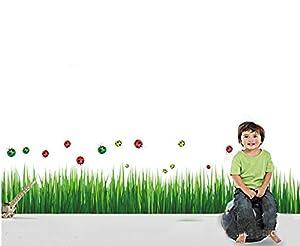 Ewin24 1 Set hierba verde Mariquita Pegatinas de pared Border auto adhesivo Mural Decal Decoración Papel de ewin24