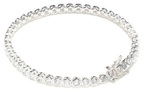Silver Round White Cubic Zirconia Tennis Bracelet 18cm