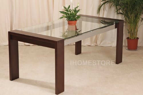 BURTON 6FT SOLID OAK GLASS DINING TABLE FURNITURE NEW