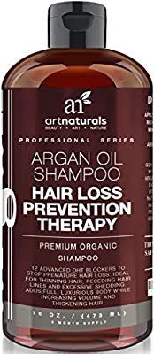 Art Naturals Organic Argan Oil Hair Loss Prevention Shampoo 16 Oz - Sulfate Free -Best Treatment for Premature Hair Loss, Thinning & First Signs of Balding for Men & Women- With Biotin 3 Months Supply