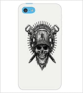 PrintDhaba Skull Designer D-1205 Back Case Cover for APPLE IPHONE 5C (Multi-Coloured)