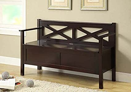 "CAPPUCCINO SOLID WOOD 50""L BENCH WITH STORAGE (SIZE: 50L X 17W X 31H)"