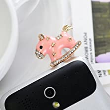 buy Big Mango Cute Crystal Metal Horse Anti Dust Plug Stopper / Ear Cap / Cell Phone Charms For Apple Iphone 5 5S,Iphone 4 4S ,Ipad Mini Ipad 2 ,Ipod Touch 5 4,Samsung Galaxy S3 S4 Note3 Note 2,Htc And Other 3.5Mm Earphone Jack Phones ( Pink )