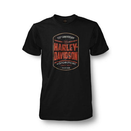 Harley-Davidson® Men's 110th Anniversary Commemorative Black Short T-Shirt. House of Harley Graphics on Back. 302917700