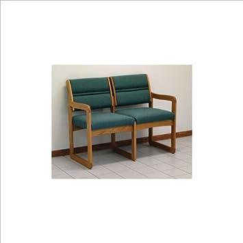 Dakota Wave Double Sled Base Sofa with Standard Fabric in Medium Oak