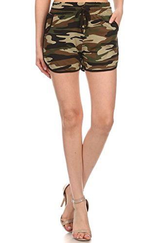 LA12ST Women's Camoflage Military Army Camo Printed Dolphin Shorts One Size Army Camouflage Shorts