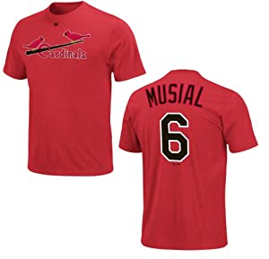 St. Louis Cardinals Stan Musial Name and Number Red T-Shirt by VF