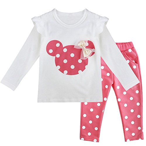 YiZYiF Baby Girls' Long Sleeve T-Shirt Top with Pants 2 Pieces Dress Up Outfits Pink 9-12 Months