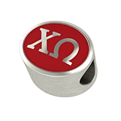 Chi Omega Enamel Sorority Bead Charm Fits Most European Style Bracelets. High Quality Bead in Stock for Fast Shipping
