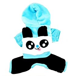 Demarkt Fashion Dog Cat Puppy Flannel Fleece Panda Head Print Hoodie Costume Clothes Pet Apparel Superdog Dress Up Pet Supplies Blue Size L